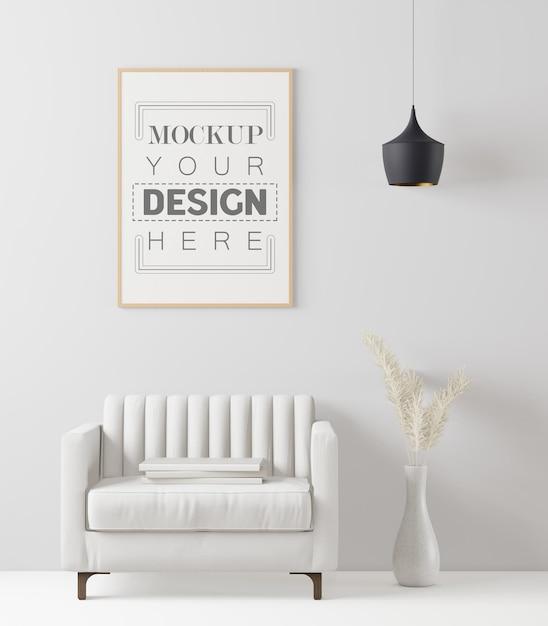 Cornice poster in soggiorno mockup Psd Gratuite