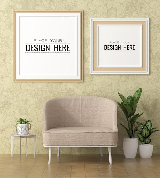 Cornice per poster nel mockup del soggiorno Psd Gratuite