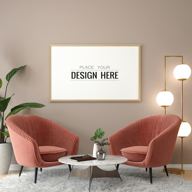 Poster frame in living room mockup Free Psd