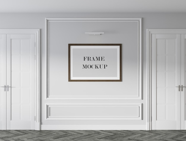 Poster frame mockup design in classic style interior Premium Psd