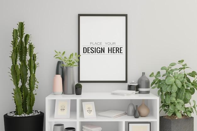 Макет рамки плаката в интерьере гостиной Бесплатные Psd