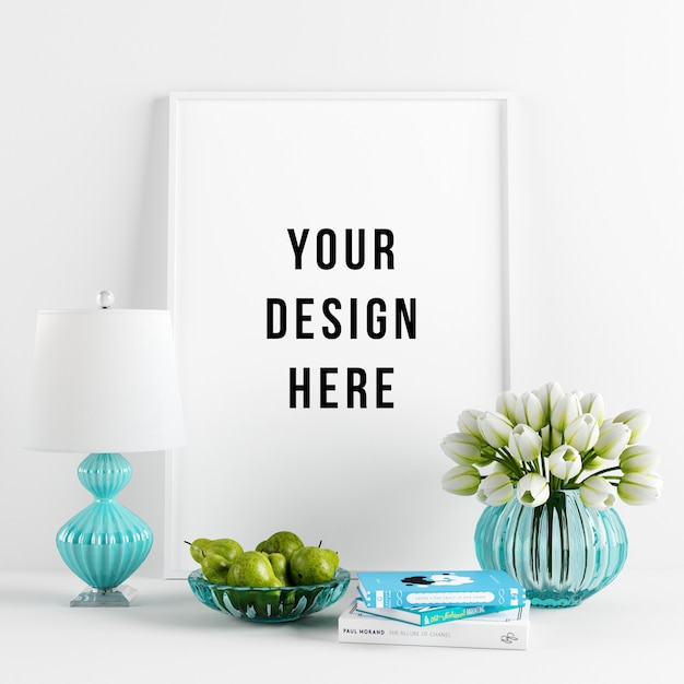 Poster frame mockup interior scene with decorations Premium Psd