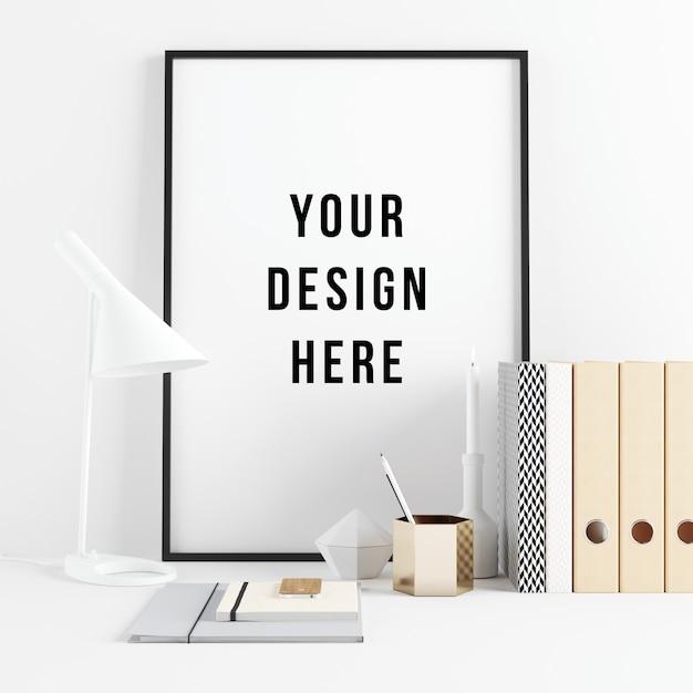 Poster frame mockup interior scene with decorations Premium Psd