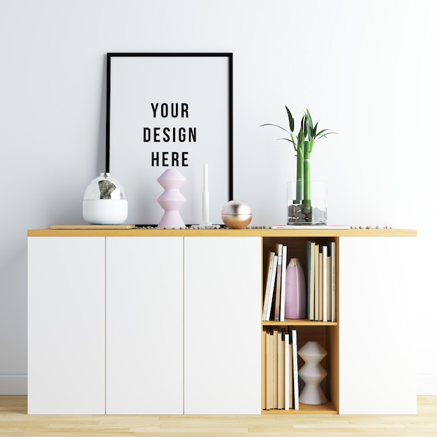 Poster frame mockup interior with decorations Premium Psd