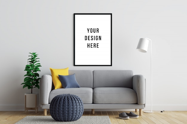 Poster frame mockup interior with sofa and decoration Premium Psd