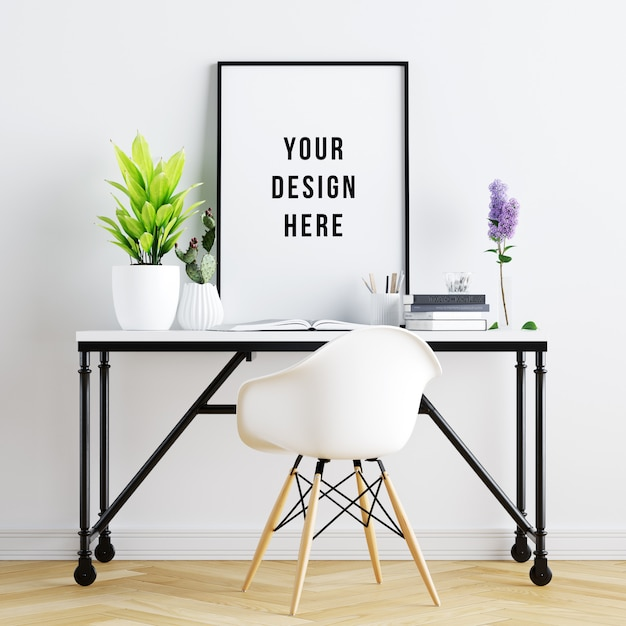 Poster frame mockup interior workspace with decorations Premium Psd