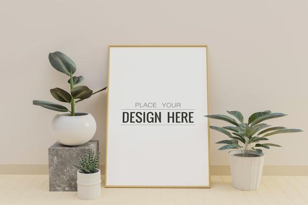 Poster frame mockup in living room interior Free Psd