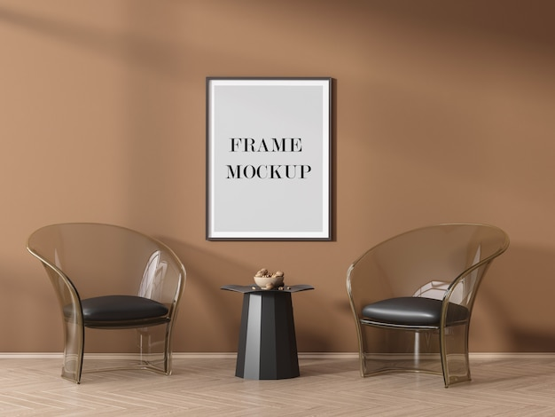 Poster frame mockup on orange wall with shadows Premium Psd