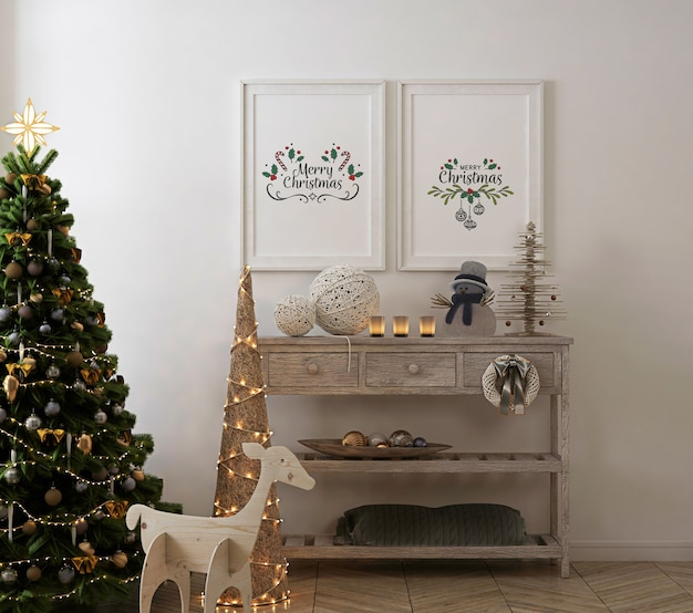 Poster frame mockup in vintage interior with christmas tree and decoration Premium Psd