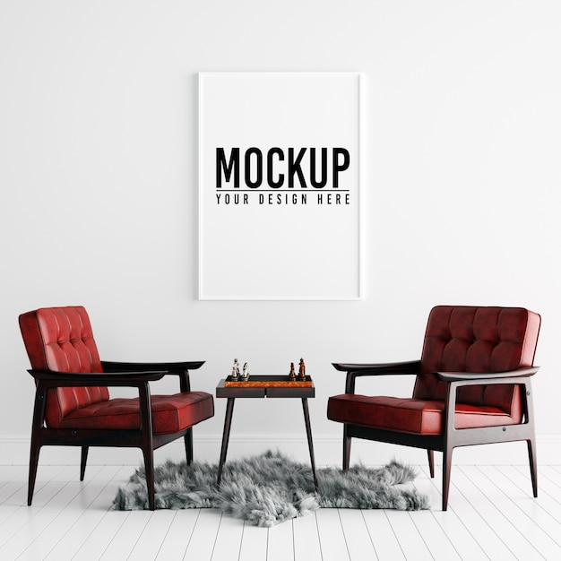 Poster frame mockup in white interior with decoration Premium Psd