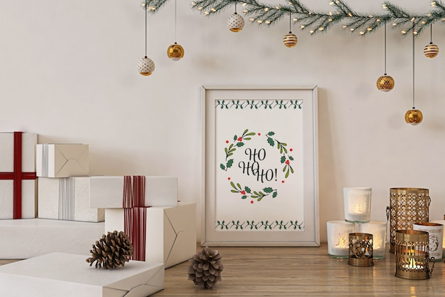 Poster frame mockup with christmas  decoration and presents Premium Psd