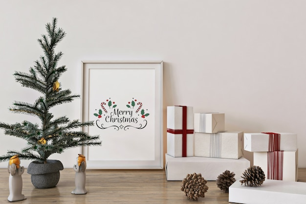 Poster frame mockup with christmas tree, decoration and presents Premium Psd