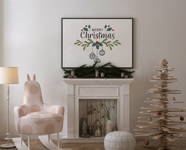 Poster frame mockup with wooden christmas  tree, decoration and presents Premium Psd
