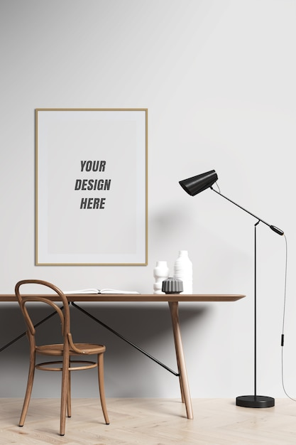 Poster frame and wall mockup with decoration Premium Psd