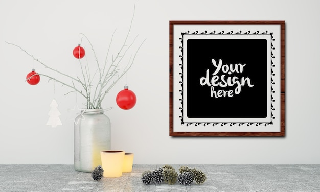 Poster frame with christmas decoration mockup Premium Psd