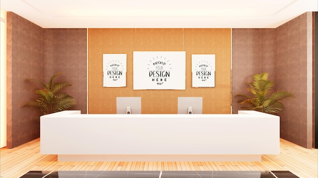 Poster frames in hall mockup Free Psd