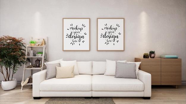 Poster frames in living room mockup Free Psd