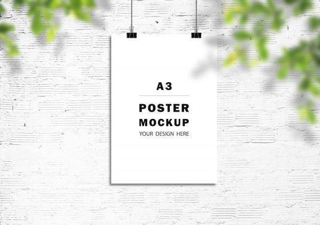 벽돌 벽에 포스터 프레임 모형 프리미엄 PSD 파일