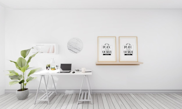 Poster frames in office mockup Free Psd