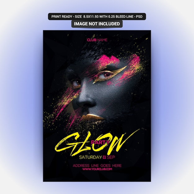 Poster for a glow music party Premium Psd