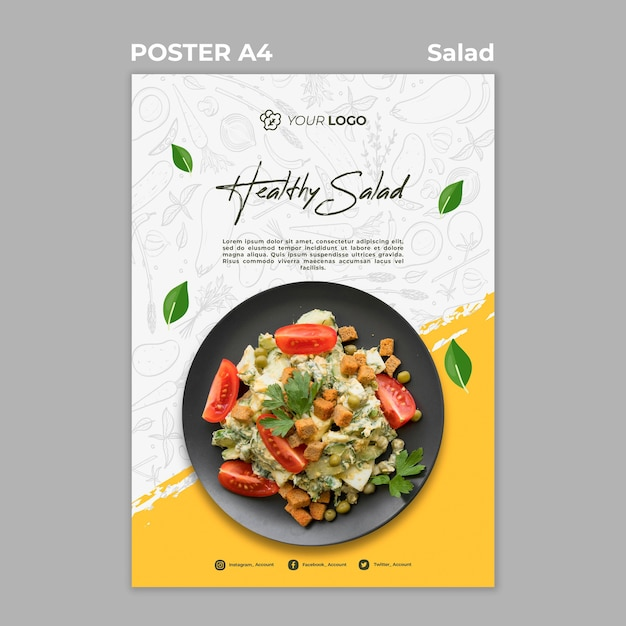 Poster for healthy salad lunch Free Psd