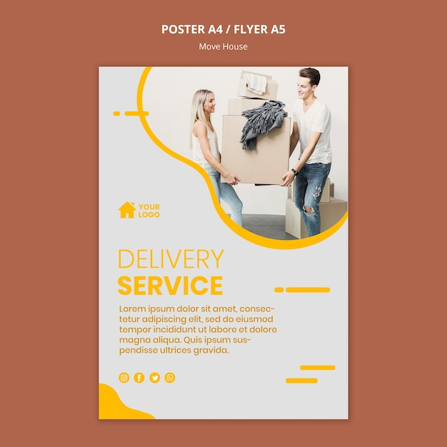 Posterfor house moving company Free Psd