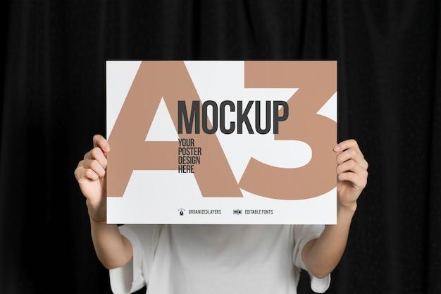 A3サイズのモックアップのポスター Premium Psd