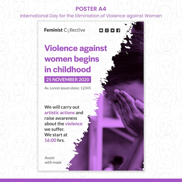 Manifesto per la giornata internazionale per l'eliminazione della violenza contro le donne Psd Gratuite