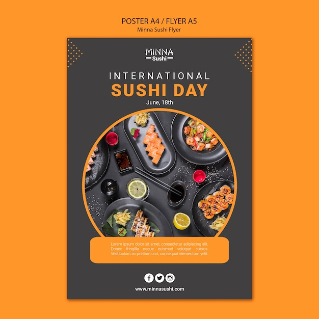 Poster for international sushi day Free Psd