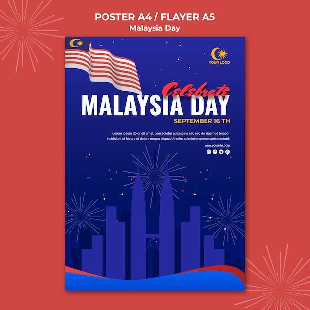 Poster per la celebrazione del giorno della malesia Psd Gratuite