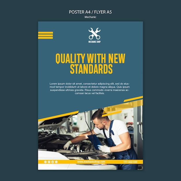 Poster for mechanic profession Free Psd