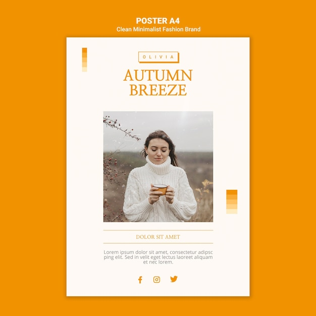 Poster for minimalist autumn fashion brand Free Psd