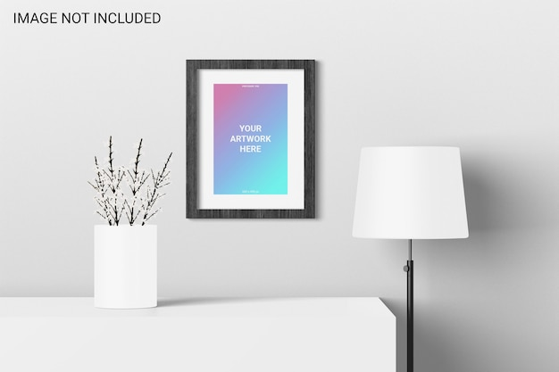Poster mockup front view on wall Premium Psd