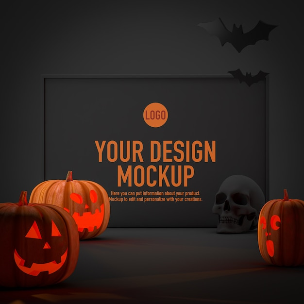 Poster mockup for halloween next to some pumpkins and bats Premium Psd