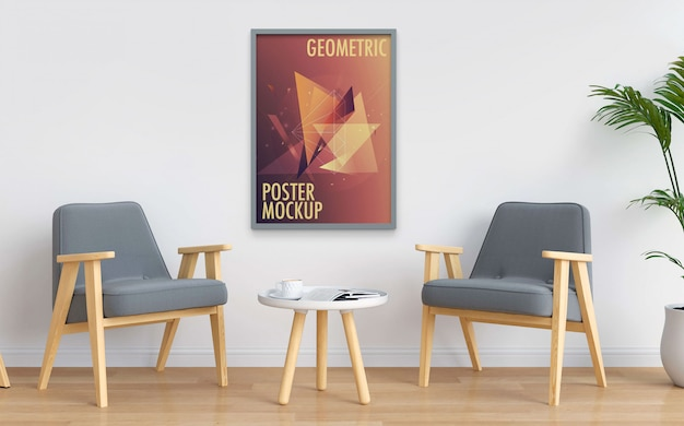 Poster mockup hanging on interior white wall Premium Psd