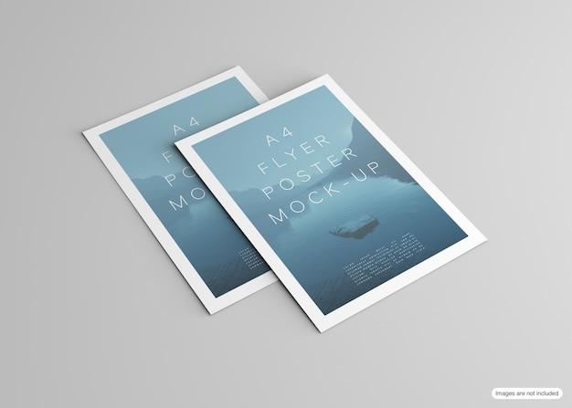 Poster mockup isolated on grey Premium Psd