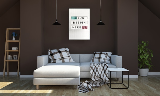Poster mockup on living room 3d rendering Premium Psd