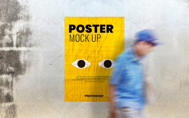 Poster mockup on old cement wall Premium Psd