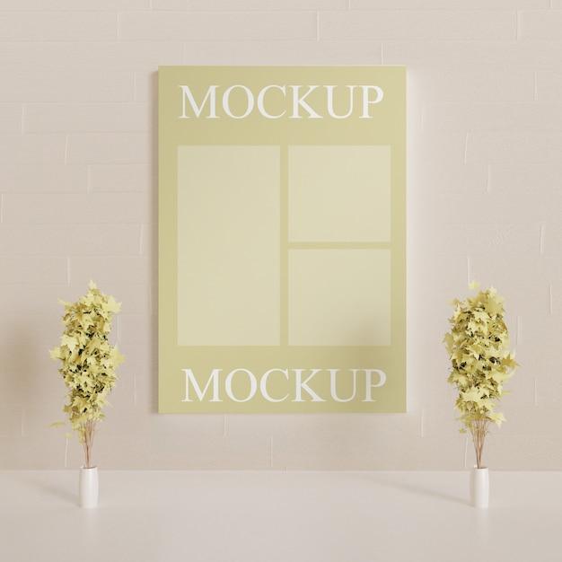 カップルの装飾的な植物が付いている壁のポスターモックアップ Premium Psd