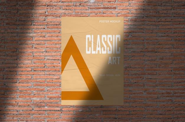 Poster mockup on orange brick wall Premium Psd