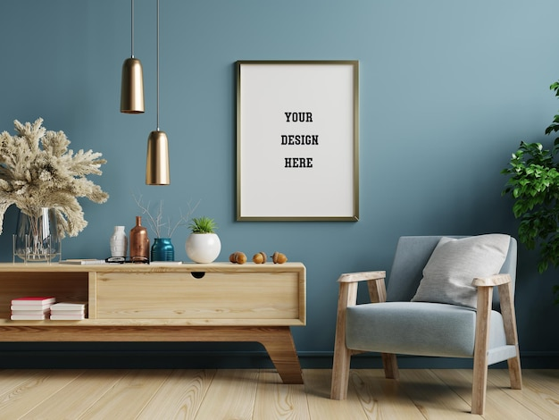 Poster mockup with vertical frame on blue wall in living room interior with blue velvet armchair Premium Psd