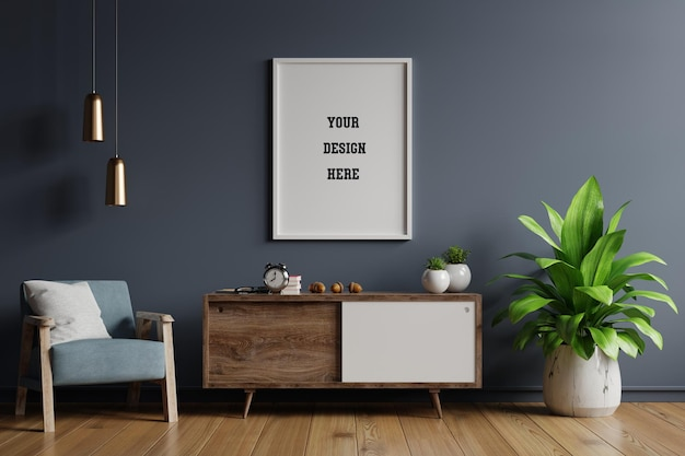 Poster mockup with vertical frames on empty dark wall in living room interior Premium Psd
