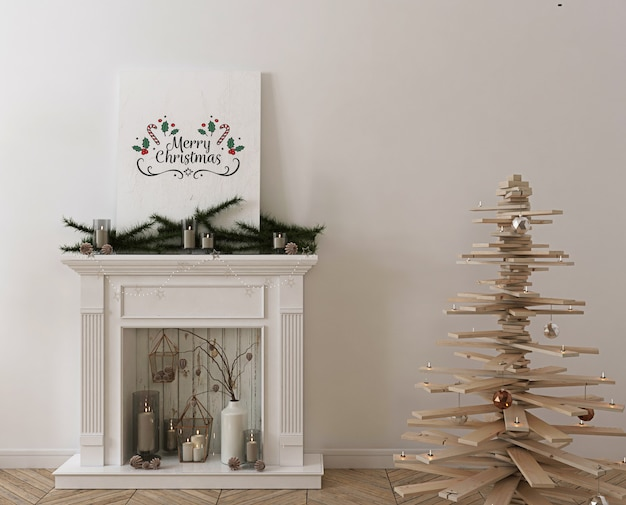 Poster mockup with wooden christmas tree, decoration and presents Premium Psd