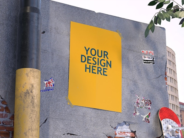 콘크리트 벽 모형에 포스터 프리미엄 PSD 파일
