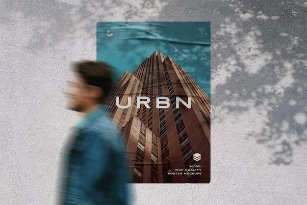 接着効果のモックアップと壁のポスター Premium Psd