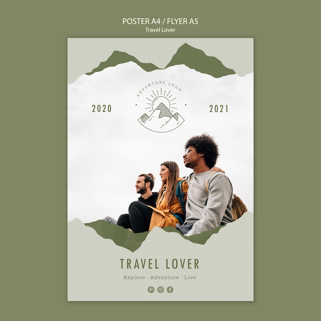 Poster for outdoors traveling Free Psd