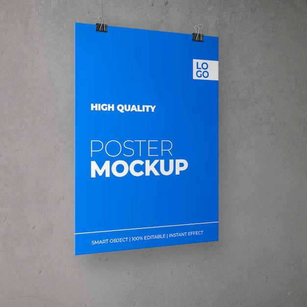 クリップモックアップと頭上のポスター 無料 Psd