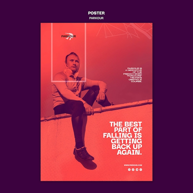 Poster parkour ad template Free Psd