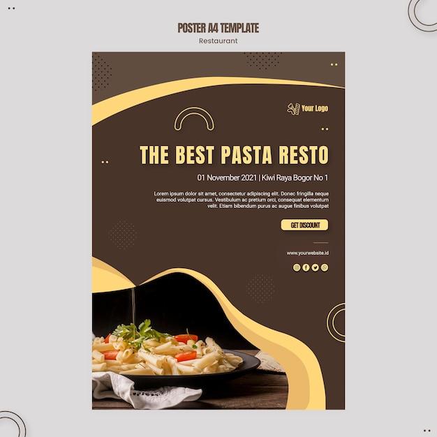 포스터 파스타 레스토랑 템플릿 무료 PSD 파일