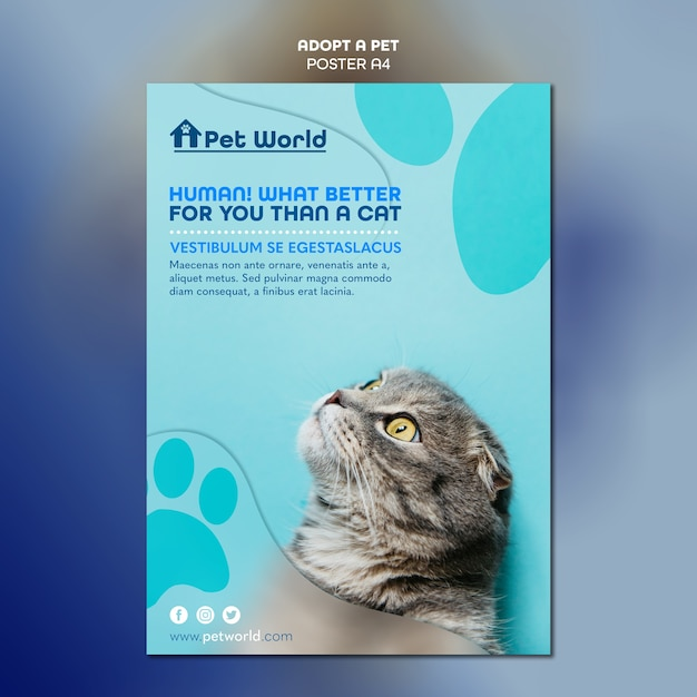 Poster for pet adoption with cat Free Psd